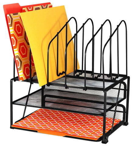 DecoBros Mesh Desk Organizer with Double Tray and 5 Upright Sections - Chickadee Solutions - 1