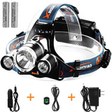 TOTOBAY Waterproof 4 Modes 3 LED Beams Headlamp 18650 Rechargeable Batteries ... - Chickadee Solutions - 1