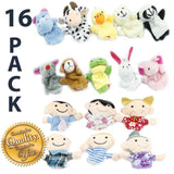 Finger Puppet Set - [The Original by Yabber 16 Pack Full Set] 10 Animals + 6 ... - Chickadee Solutions - 1