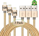 Abloom 3Pack 3ft 6ft 10ft Nylon Braided Popular Lightning Cable 8Pin to USB C... - Chickadee Solutions - 1