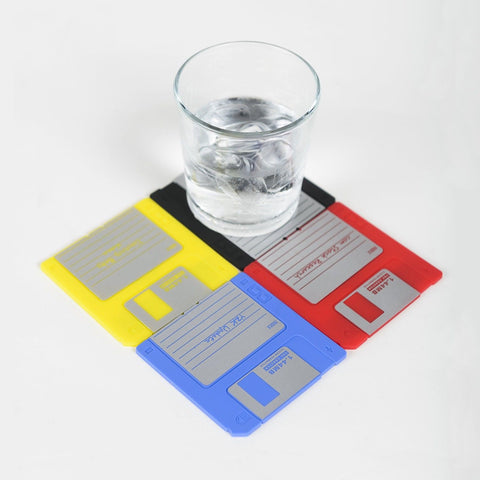 Nineties Nerd Retro Floppy Disk Non-slip Silicone Drink Coaster Set by Modern... - Chickadee Solutions - 1
