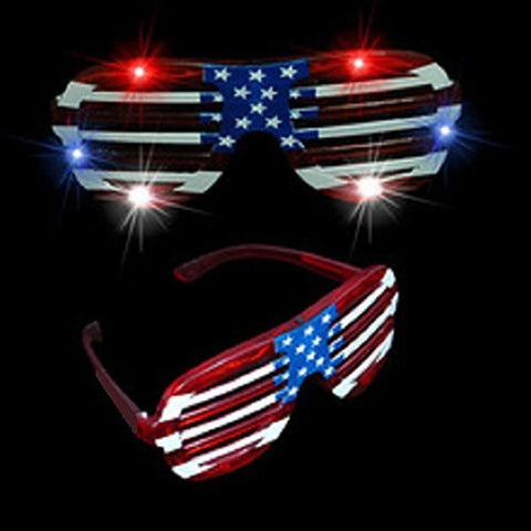 1 Pair of USA American Flag July 4 th LED Flashing Light Up Party Shades Glas... - Chickadee Solutions - 1