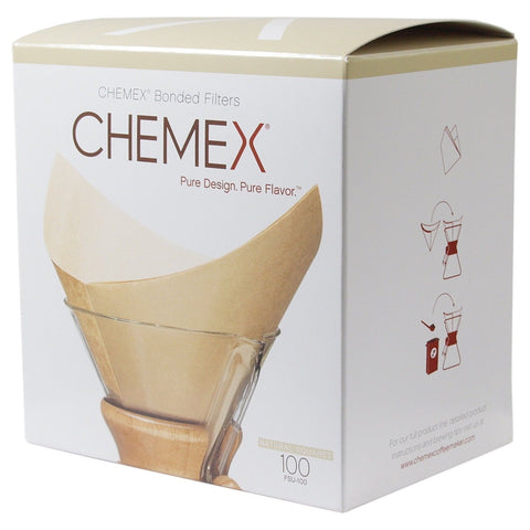 Chemex Bonded Unbleached Pre-folded Square Coffee Filters 100 Count - Chickadee Solutions