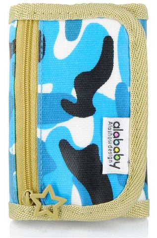 Alababy Multicolor Camo Canvas Velcro Trifold Wallet with Zipper Blueocean - Chickadee Solutions - 1
