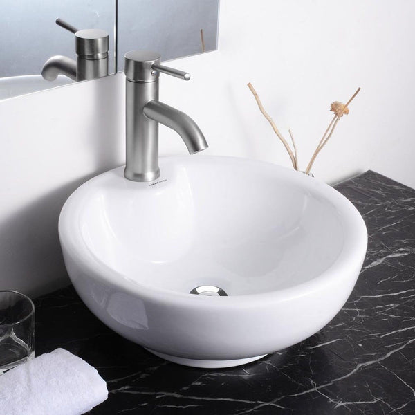 Round Bathroom Sink Bowls : Round Bowl Bathroom Porcelain Vessel Sink White Ceramic Basin and ...