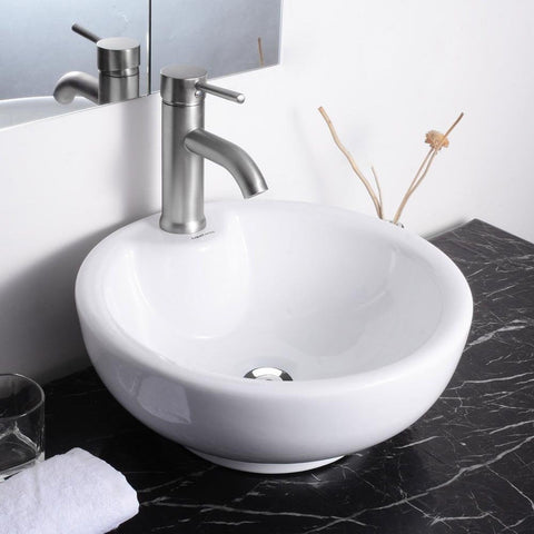 Round Bowl Bathroom Porcelain Vessel Sink White Ceramic Basin and Chrome Drain - Chickadee Solutions - 1