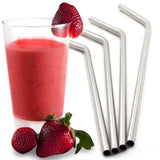 Royal Living Stainless Steel Drinking Straws Bent Free Cleaning Brush Included - Chickadee Solutions - 1