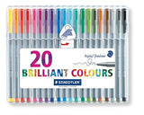Staedtler 334SB20BK Triplus Fineliner Pens .3mm Metal Clad Tip 20/PK Assorted - Chickadee Solutions - 1