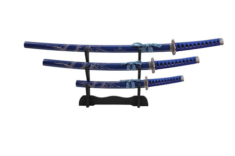 Carved Dragon Blue Samurai Sword Set of 3 with Stand - Chickadee Solutions