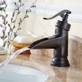 FLG Waterfall Spout Oil Rubbed Bronze Bathroom Sink Faucet Deck Mount One Hol... - Chickadee Solutions - 1