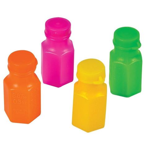 "1.75"" NEON BUBBLE BOTTLES .3 OZ (48 PIECES) - BULK - Chickadee Solutions"