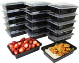 Microwavable Food Container with Lid 38 Oz - Black - 15 Pack - Chickadee Solutions - 1