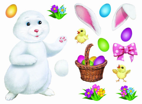 "Easter Clings Kit 17"" x 12"" (2 Sheets) Reusable Vinyl Wall Decal Mirror and W... - Chickadee Solutions"