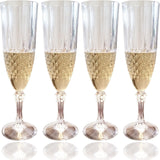 Set of 4 Champagne Flutes with Crystal Effect - Plastic Sparkling Wine Glasse... - Chickadee Solutions - 1