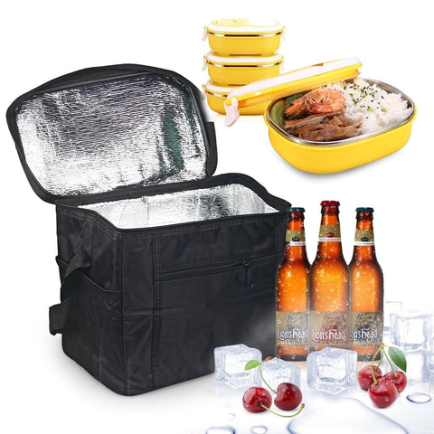 Large Insulated Bag Oumers Lunch Tote Bag Box Cooler Bag Silver Interior and ... - Chickadee Solutions - 1