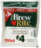 Brew Rite #4 Cone Coffee Filters White Paper 100-Count Bags (Pack of 8) - Chickadee Solutions - 1