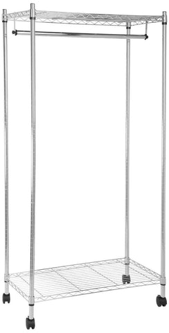 AmazonBasics Garment Rack with Top and Bottom Shelves - Chrome - Chickadee Solutions - 1