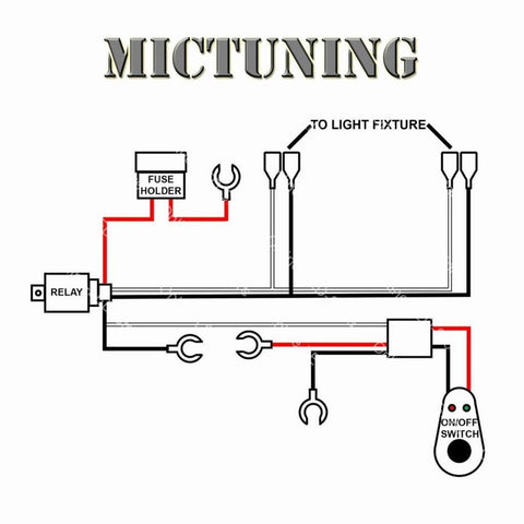 MICTUNING 12ft Wiring Harness Kit for Off Road LED Work