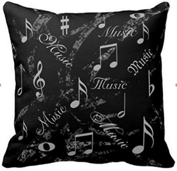 Decorbox Black And Grey Music Notes Throw Pillows Custom Throw Pillow Case ... Chickadee Solutions