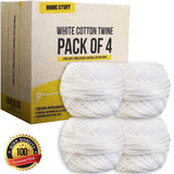 #1 Cotton Twine 4 Pack White String 350 FT of the Best Twine for Cooking Bake... - Chickadee Solutions - 1