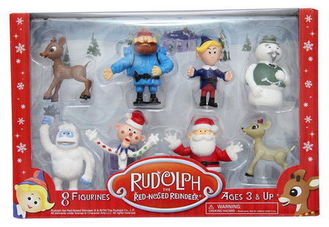 Rudolph the Red-Nosed Reindeer Main Characters PVC Figurine Set of 8 Rudolph - Chickadee Solutions