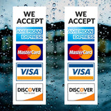 Credit Card Vinyl Sticker Decal - 2 PACK - We Accept - Visa MasterCard Amex a... - Chickadee Solutions - 1