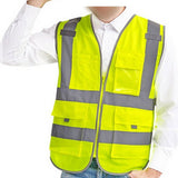 High Visibility Neon Green Zipper Front Safety Vest with Reflective Strips - ... - Chickadee Solutions - 1