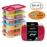 3-Compartment Multicolored Bento Lunch Box Containers for Adults & Kids (6 Pa... - Chickadee Solutions - 1