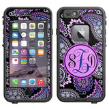Skin Decal Monogram for LifeProof Apple iPhone 6 Case - Pink Purple Paisley - Chickadee Solutions - 1