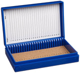 Heathrow Scientific HD15989A Blue Cork Lined 25 Place Microscope Slide Box 5.... - Chickadee Solutions