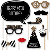 Adult 40th Birthday - Gold - Photo Booth Props Kit - 20 Count - Chickadee Solutions - 1