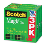 Scotch Magic Tape 1/2 x 1296 Inches Boxed 3 Rolls (810H3) - Chickadee Solutions