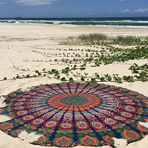 1 X Indian Mandala Round Roundie Beach Throw Tapestry Hippy Boho Gypsy Cotton... - Chickadee Solutions - 1
