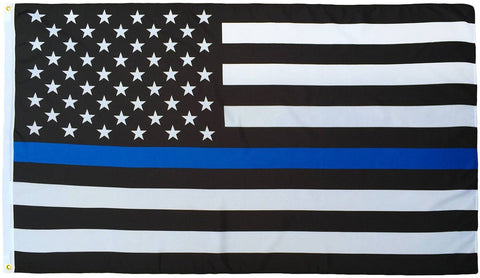 Thin Blue Line U.S. American Flag - 3x5 Foot with Grommets Bomb Diggity Goods - Chickadee Solutions - 1