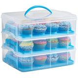 VonShef Snap and Stack Blue 3 Tier Cupcake Holder & Cake Carrier Container - ... - Chickadee Solutions - 1