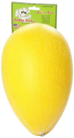 Jolly Pets Egg Plastic Ball for Pets Yellow 12 inches - Chickadee Solutions - 1