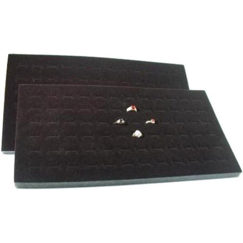 1 X 2 72 Slot Black Jewelry Travel Ring Inserts Display Pads - Chickadee Solutions