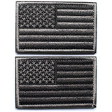 Bundle 2 pieces - American USA Flag Patch with Velcro backing Black grey Deco... - Chickadee Solutions - 1