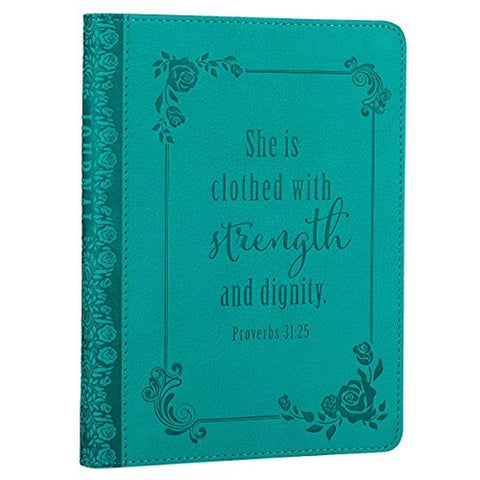 """She is Clothed with Strength and Dignity"" Turquoise Flexcover Journal - Prov... - Chickadee Solutions - 1"