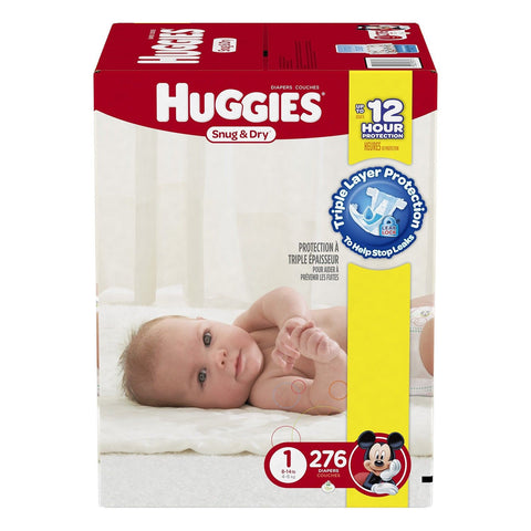 Huggies Snug and Dry Diapers Size 1 Economy Plus Pack 276 Count Huggies - Chickadee Solutions - 1