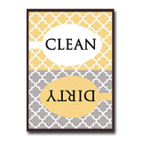 Clean Dirty Dishwasher Magnet - Contemporary Quatrefoil Pattern Best for Mode... - Chickadee Solutions - 1
