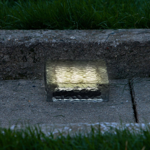 "6"" x 6"" Warm White Frosted Glass Solar Brick Paver Light with 5 LEDs - Chickadee Solutions - 1"