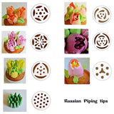 TANGCHU Russian Piping Tips 7PCS/SET Stainless Steel Large Size Icing Syringe... - Chickadee Solutions - 1