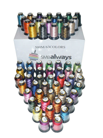 Polyester Embroidery Machine Thread Set (63 Spools 500m Each) by SMB Always - Chickadee Solutions