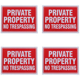 Private Property No Trespassing Sign 9 x 12 Inch - 4 Pack - Chickadee Solutions - 1