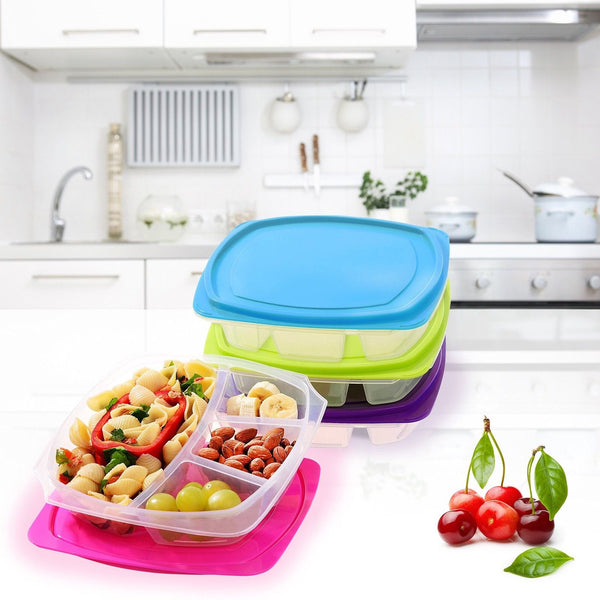 happy lunchboxes 4 compartment leak proof bento lunch box. Black Bedroom Furniture Sets. Home Design Ideas