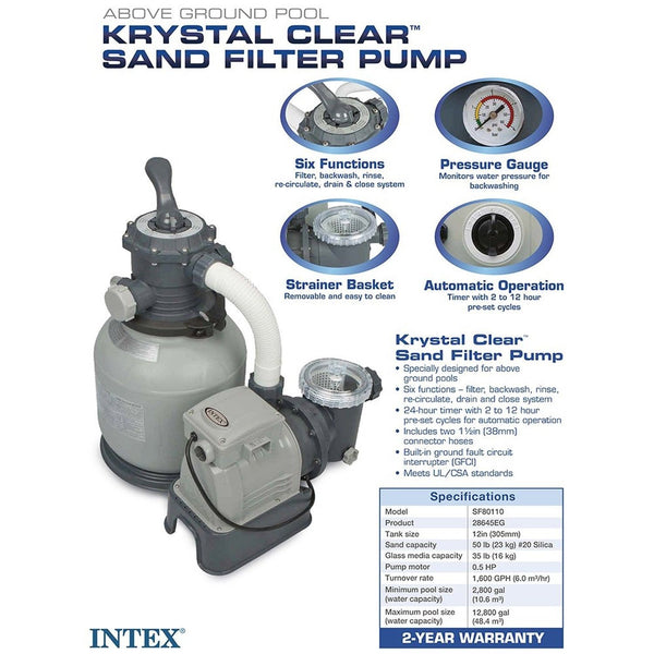 Intex Krystal Clear Sand Filter Pump For Above Ground Pools 2100 Gph Pump Flo Chickadee