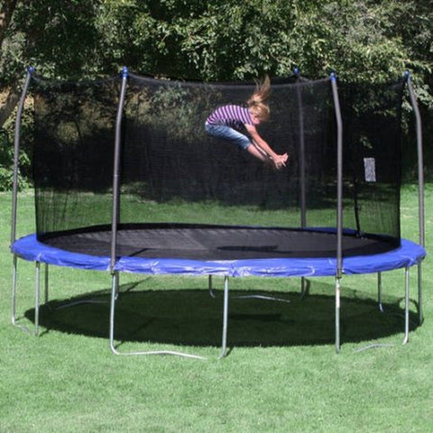 Skywalker Trampolines 15; Round Trampoline and Enclosure - Blue - Chickadee Solutions