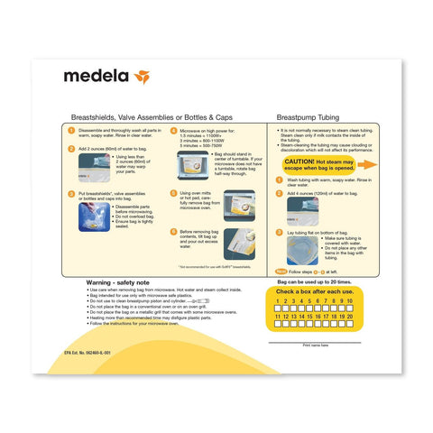 medela micro steam bags instructions