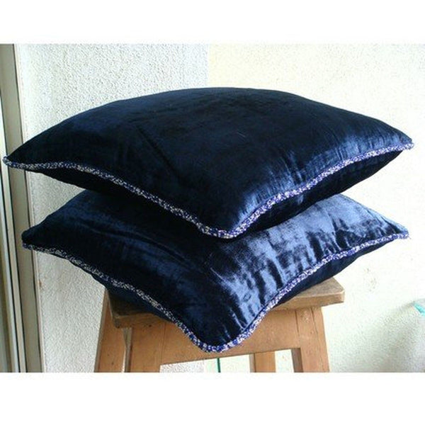 15 Inch Throw Pillow Covers : Navy Shimmer - 16x16 inches Decorative Throw Navy Blue Velvet Pillow Cover wi... Chickadee ...
